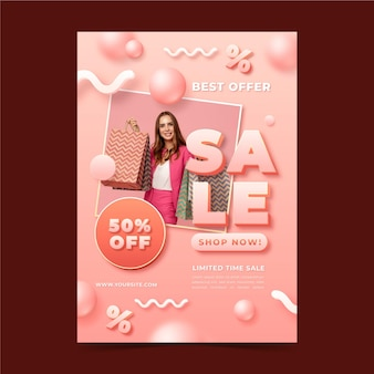 Realistic vertical sale poster template with photo