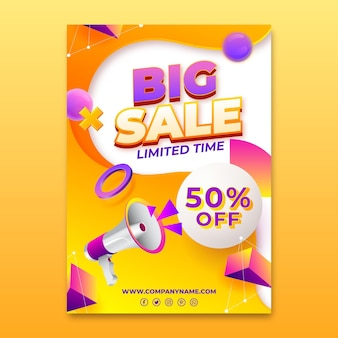 Realistic vertical sale poster template