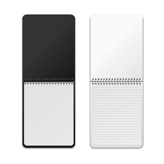 Realistic vertical spiral notebooks with different grids,   isolated