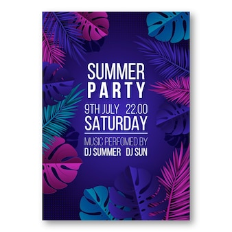 Realistic vertical summer party poster template