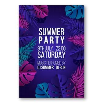 Реалистичный вертикальный шаблон плаката летней вечеринки