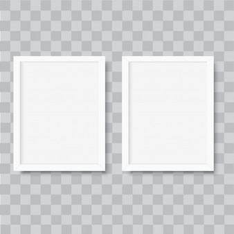 Realistic vertical white photo frame