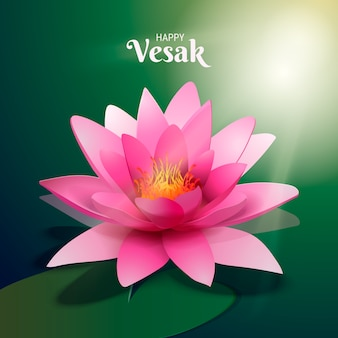 Realistic vesak beautiful pink lotus flower