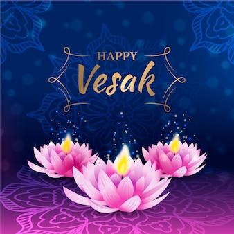 Realistic vesak celebration with lotus flowers