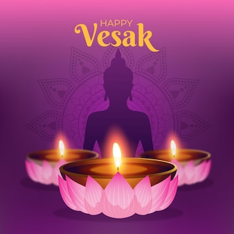 Realistic vesak concept with candles