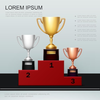 Realistic victory and success poster with gold silver bronze cups on red podium