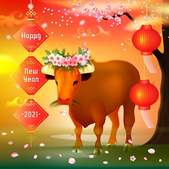 Realistic vietnamese new year with bull
