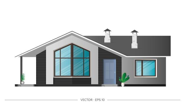 현실적인 빌라 흰색 배경에 고립입니다. 세련된 모던 로프트 스타일의 집. 삽화