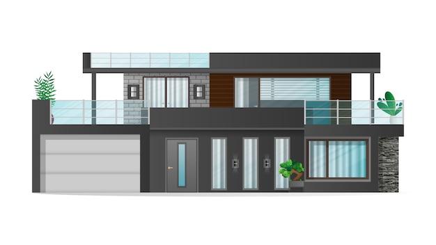 Realistic villa isolated on a white background. stylish modern loft style house.   illustration