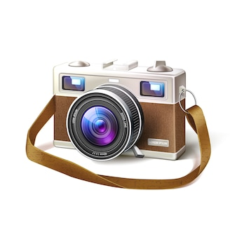 Realistic vintage film photo camera macro lens