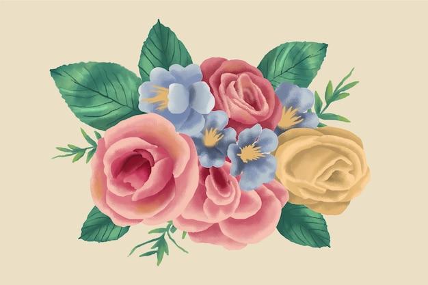 Realistic vintage floral bouquet