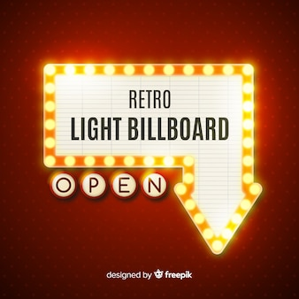 Realistic vintage light billboard