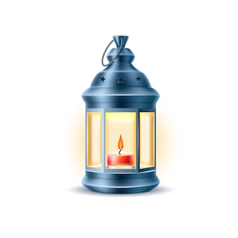 Realistic vintage old lantern, lamp with candle