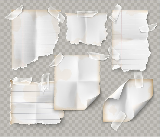 Realistic vintage torn sheet of notebook paper