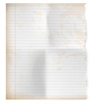 Realistic vintage torn sheet of notebook paper.