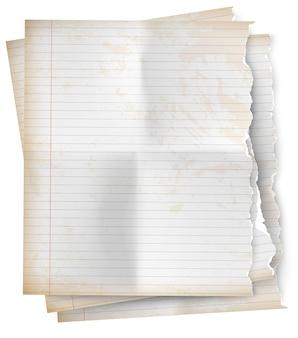 Реалистичный винтажный рваный лист блокнота