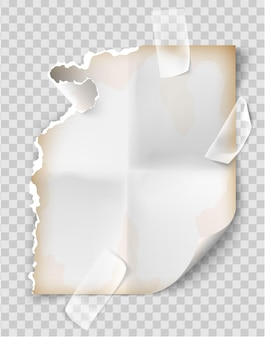 Реалистичные старинные разорванный лист блокнота.