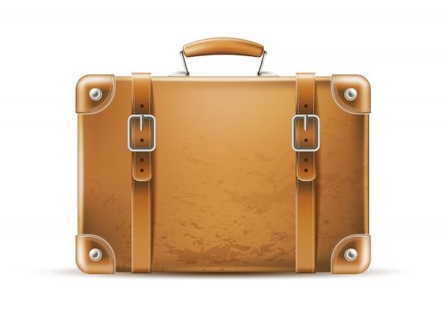 현실적인 빈티지 여행 가방. 여행용 가죽 갈색 가방