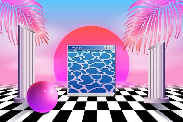 Realistic vintage vaporware background