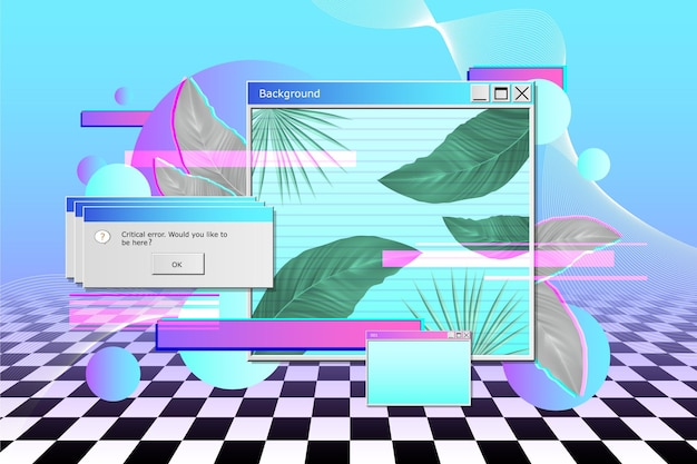 Realistic vintage vaporwave background
