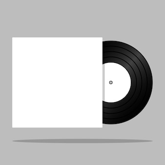 Realistic vintage vinyl record with blank cover isolated