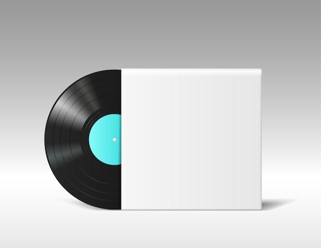 흰색 배경에 격리된 빈 음악 앨범 표지에 있는 현실적인 비닐 디스크 모형입니다. 흰색 템플릿 종이 상자에서 복고풍 뮤지컬 긴 재생. 3d 벡터 일러스트 레이 션