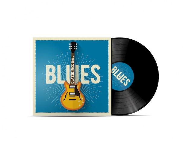 クラシックなエレクトリックギターを搭載したブルースミュージックカバーを備えたリアルなビニールディスクモックアップ。ブルースロックのプレイリストまたはアルバムカバーで機能します。