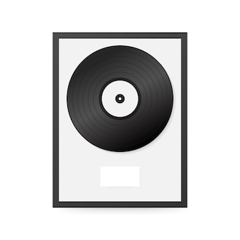 Realistic vinyl in frame on wall. collection disc