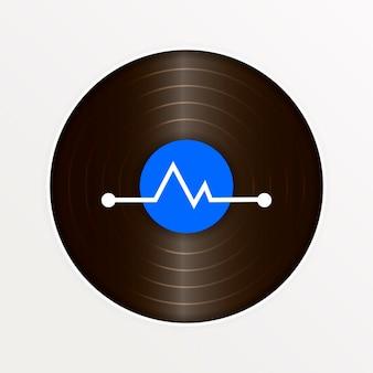 カバーモックアップ付きのリアルなビニールレコード。レトロなデザイン。ベクトルイラスト。