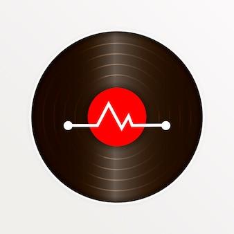 Realistic vinyl record with cover mockup. retro design. vector illustration.