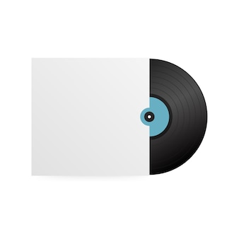 Realistic vinyl record with cover