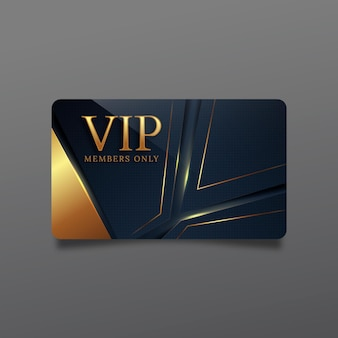 Realistic vip card template with golden details