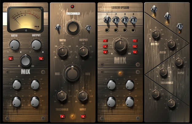 Realistic virtual equalizers and compressors for a recording studio.