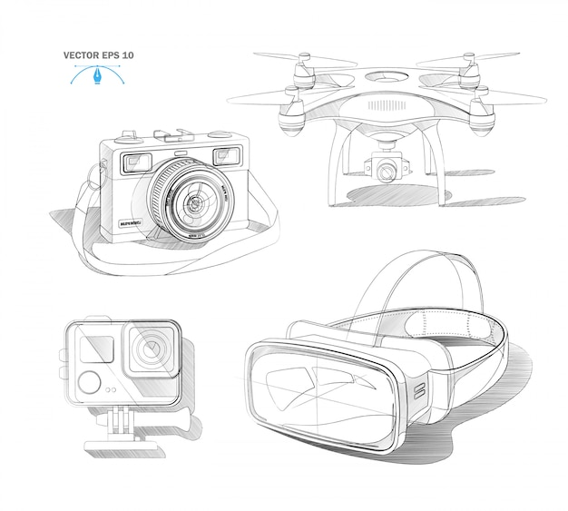 Realistic virtual reality headset air quad drone, action camera and vintage photocamera blueprint set