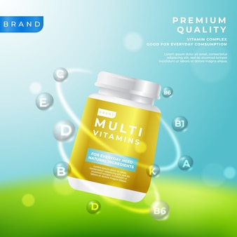 Realistic vitamin complex golden package
