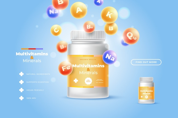 Realistic vitamin complex package