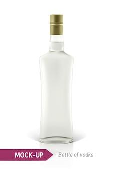現実的なウォッカボトルまたは他のジンボトル。影と反射で白い背景に。
