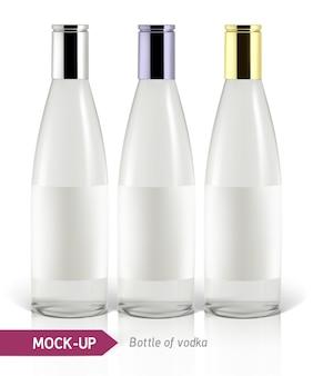 リアルなウォッカボトルやその他のジンボトル。影と反射のある白い背景に。
