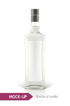 Realistic vodka bottle or other gin bottle.  on a white background with shadow and reflection.