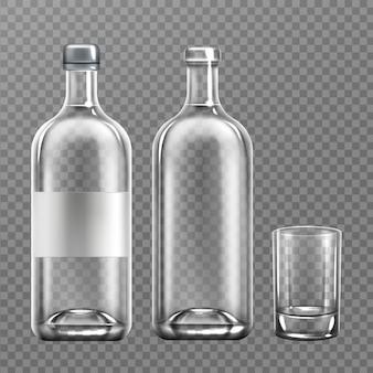 Realistic vodka glass bottle with glass