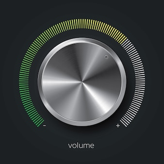 Realistic volume knob on dark with metal texture and gradient scale, vector illustration