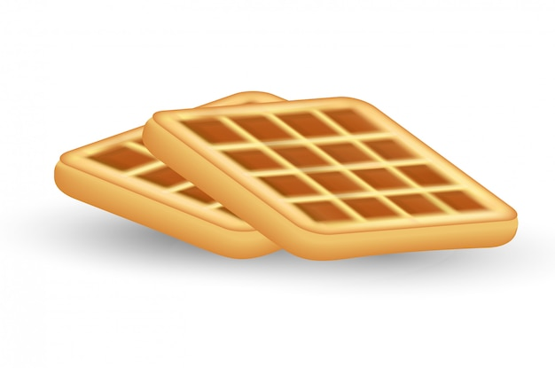 Реалистичные вафельный значок, на белом фоне. вафельный стиль. завтрак, концепция выпечки. иллюстрации.