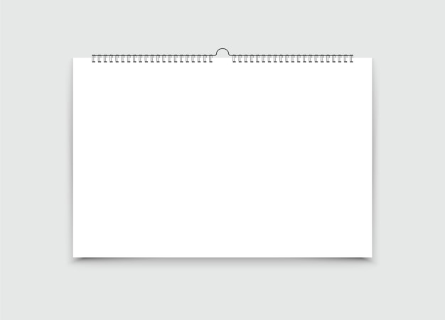 Realistic wall calendar with spiral.