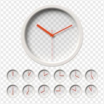 Realistic wall clock set