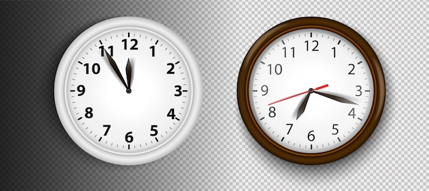 Realistic wall clocks set  illustration. transparent face. black hands. ready to apply. graphic element for documents, templates, posters, flyers.
