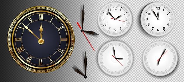 Realistic wall clocks set vector illustration.