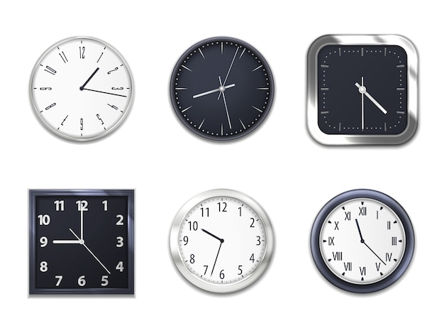 Realistic wall clocks with modern clockface round and square isolated mockup models
