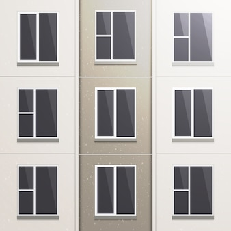Realistic wall of a multi-storey panel building.