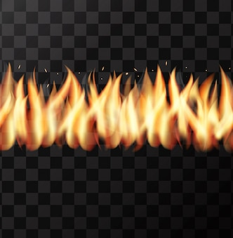 Реалистичная стена огня бесшовные модели на прозрачном фоне.