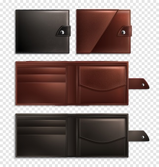 Realistic wallet transparent set